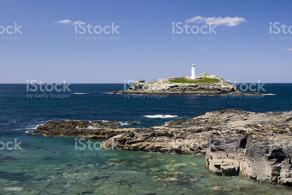 Godrevy lighthouse island on the north coast of Cornwall stock photo