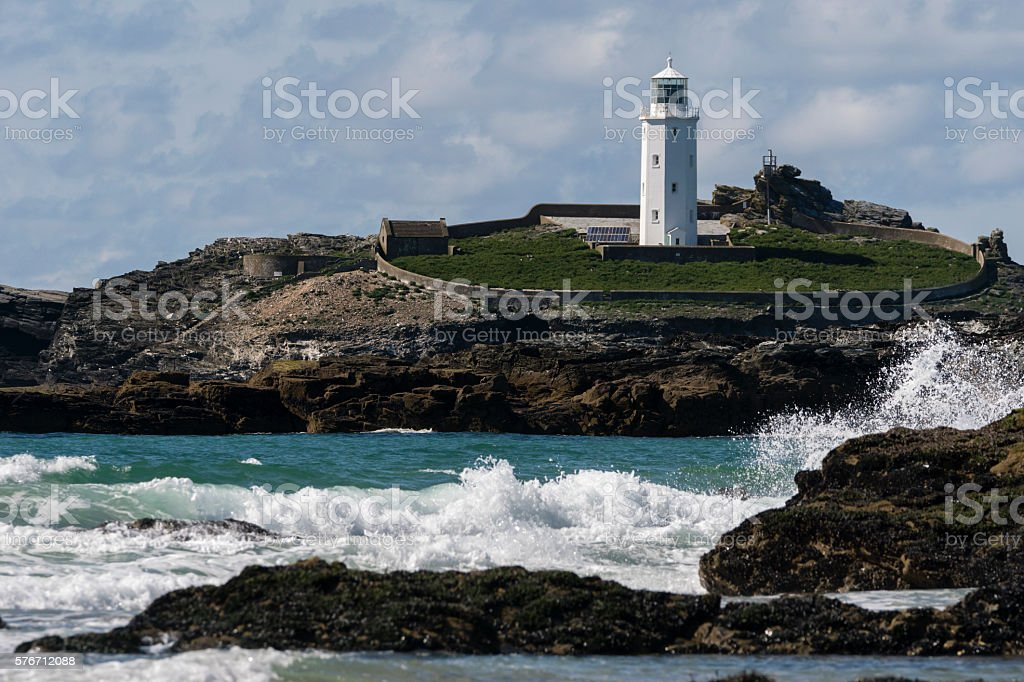 Godrevy Lighthouse near Hayle in Cornwall stock photo