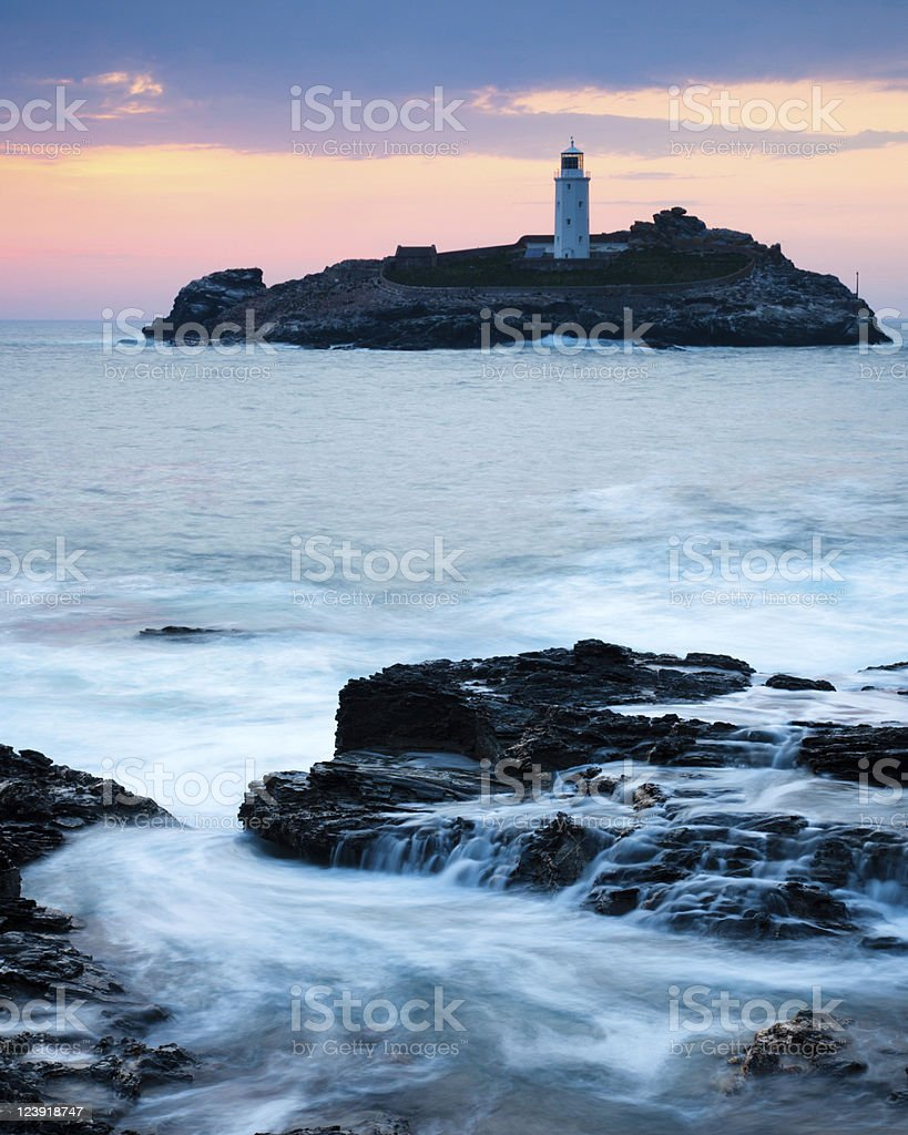 Godrevy Sundown stock photo