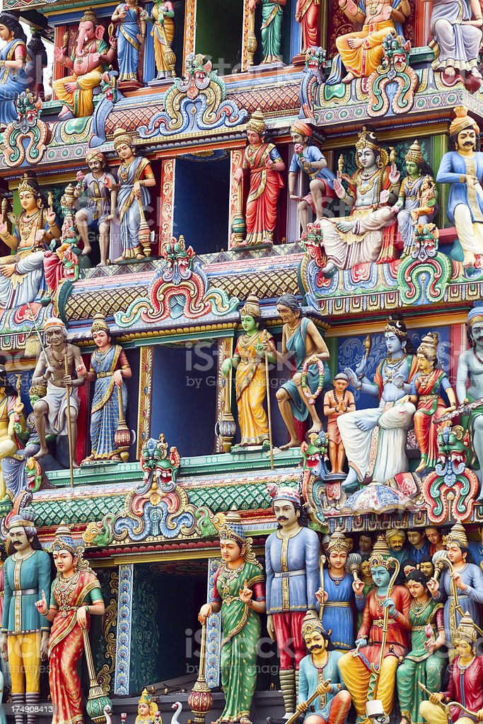 Gods and godesses of Hindu temple Sri Mariamman stock photo