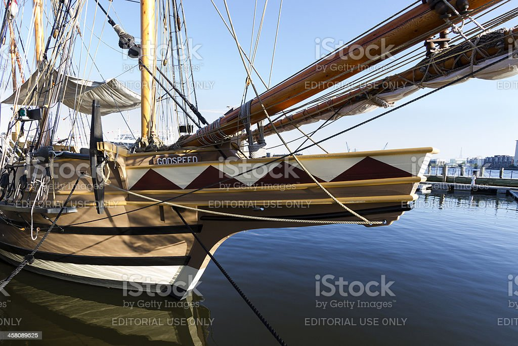 HMS Godspeed, rigged as a barque, tied to the pier. stock photo