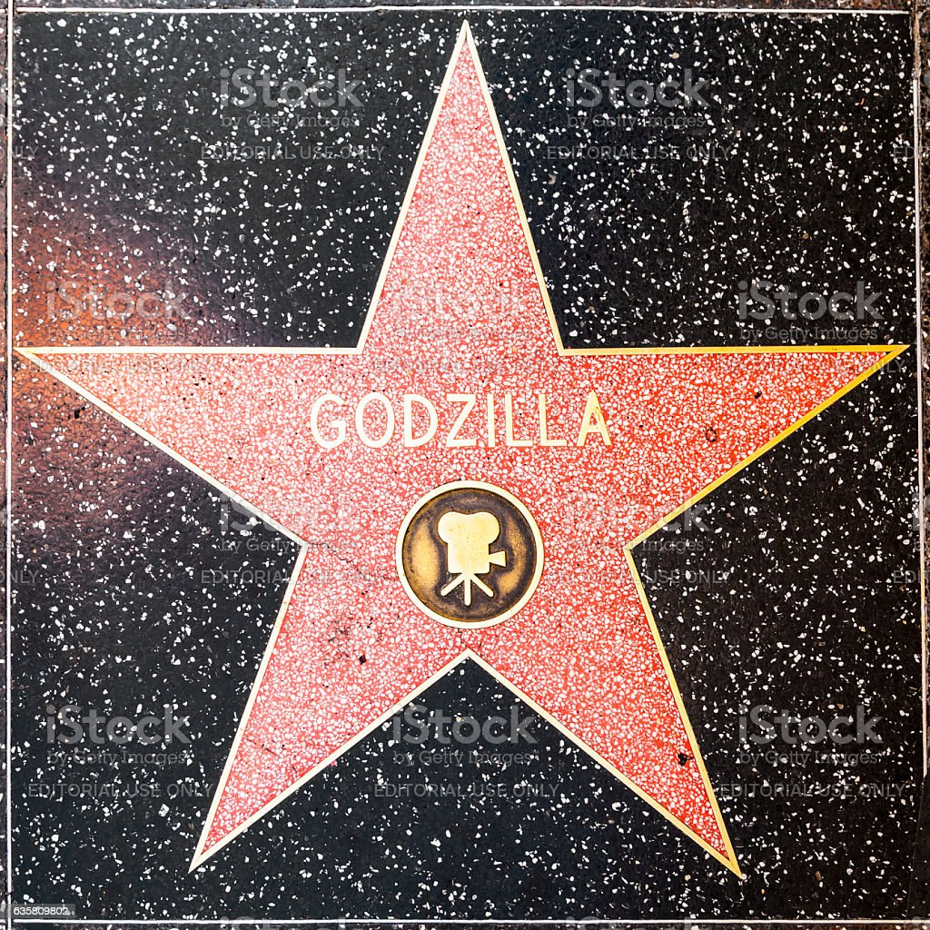 Godzillas star on Hollywood Walk of Fame stock photo