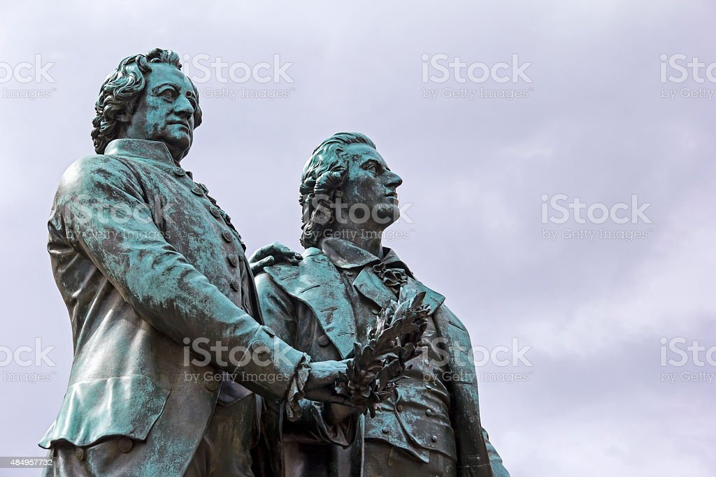 Goethe and Schiller Memorial in Weimar stock photo