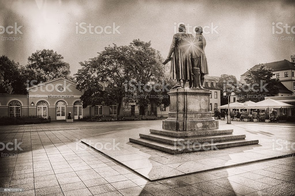 Goethe and Schiller Monument old photographic style stock photo