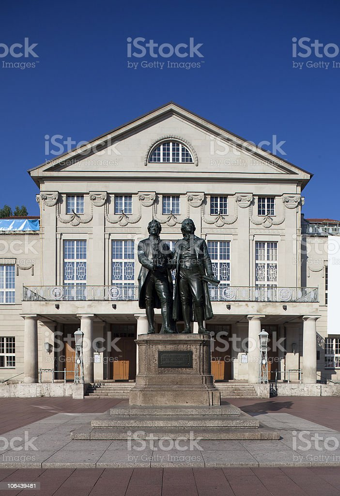 Goethe and Schiller monument Weimar stock photo