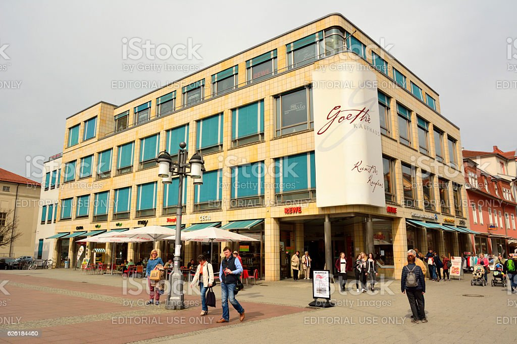 Goethe Kaufhaus shopping mall at Theaterplatz square in Weimar stock photo