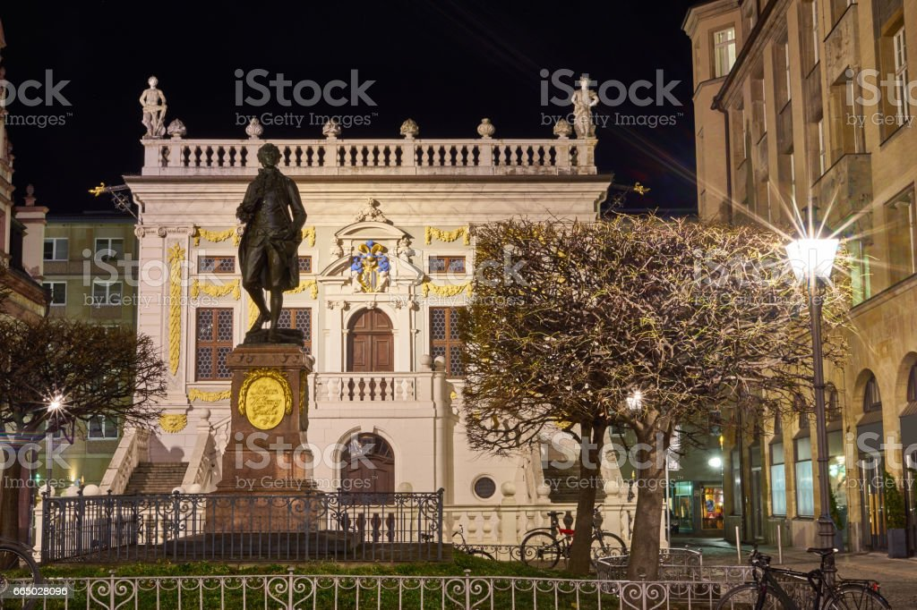 Goethe Monument Leipzig at night stock photo