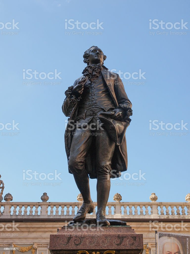 Goethe Denkmal Leipzig stock photo