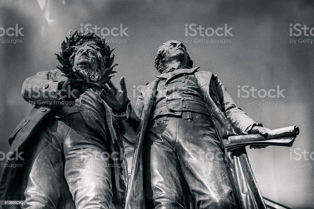 Goethe Schiller Monument stock photo