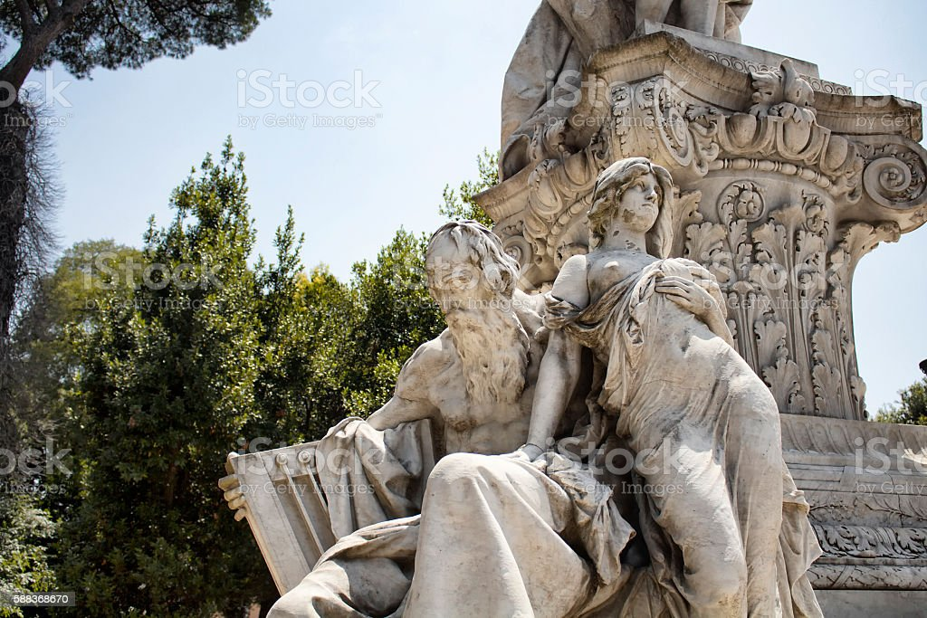 Goethe statue at Borghese garden in Rome stock photo