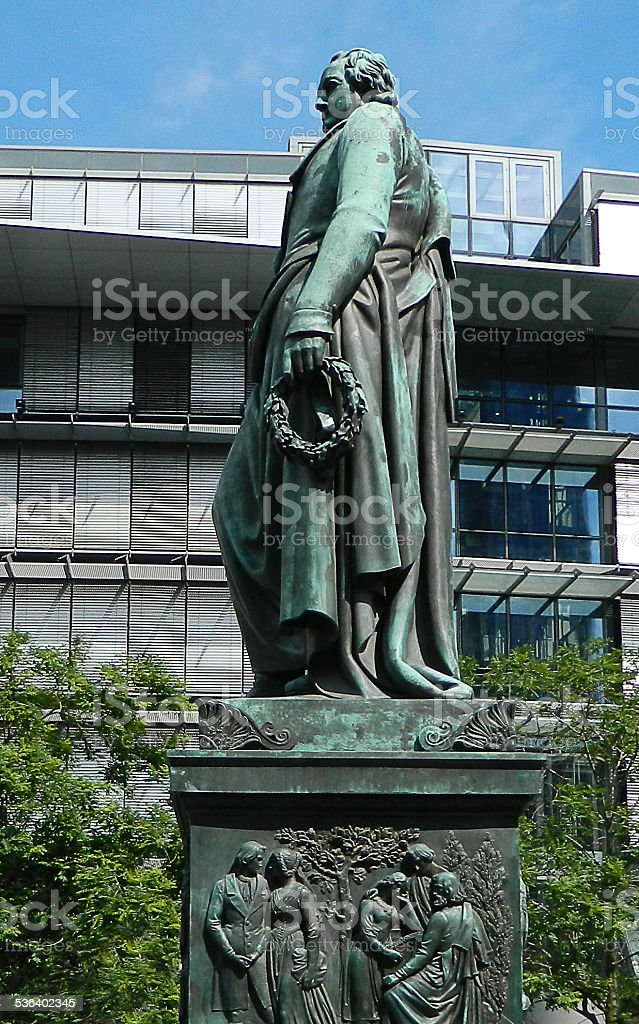 Goethe statue in Frankfurt stock photo