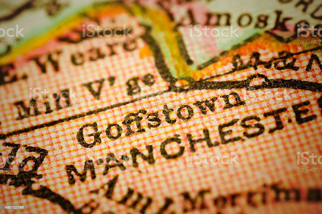 Goffstown, New Hampshire on an Antique map stock photo