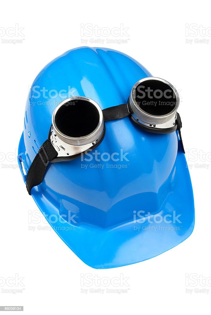 goggles and blue hard-hat stock photo