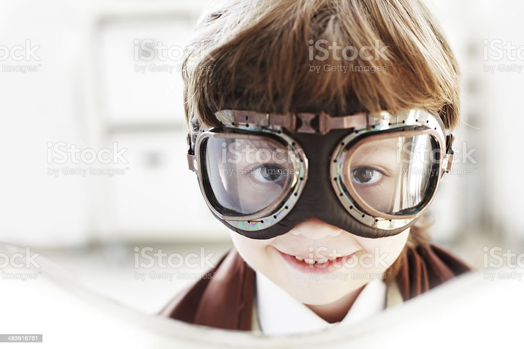 Goggles boy dreams of becoming a pilot stock photo