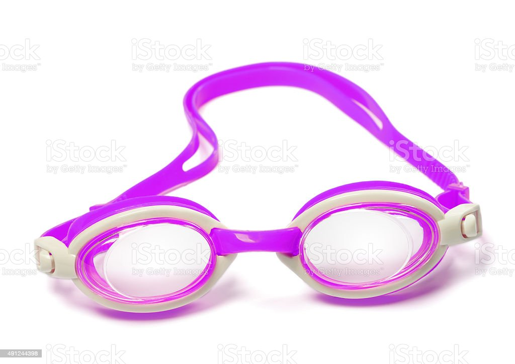 Goggles for swimming on white background stock photo
