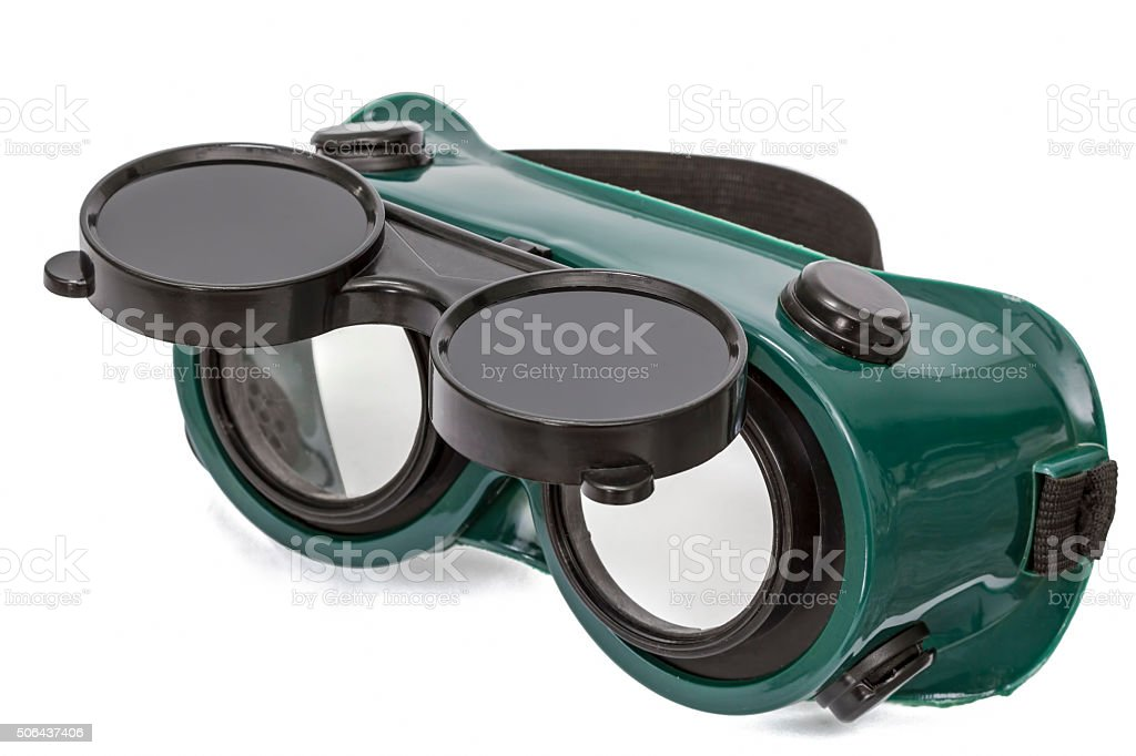 Goggles for welding work, isolated on white, with clipping path stock photo