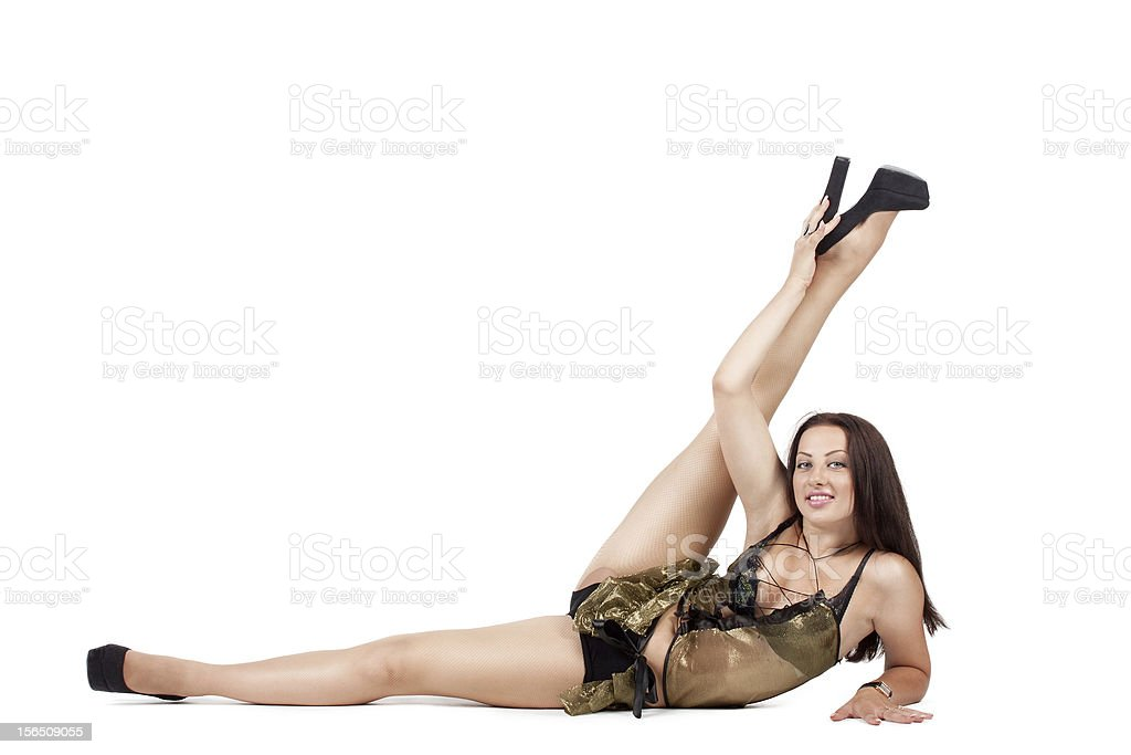 go-go dancer in an extravagant pose royalty-free stock photo