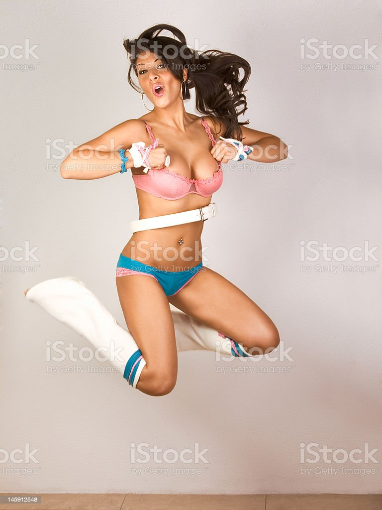 Go-go dancer jumping (motion blur) royalty-free stock photo