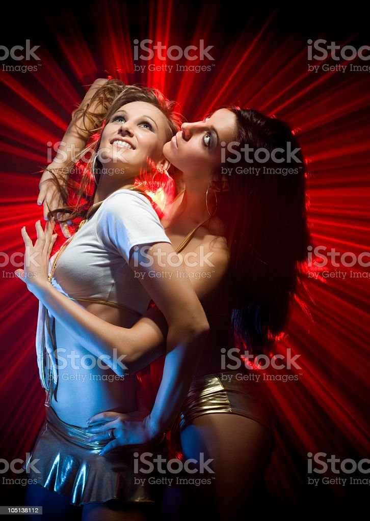 Gogo dancers in laser light royalty-free stock photo