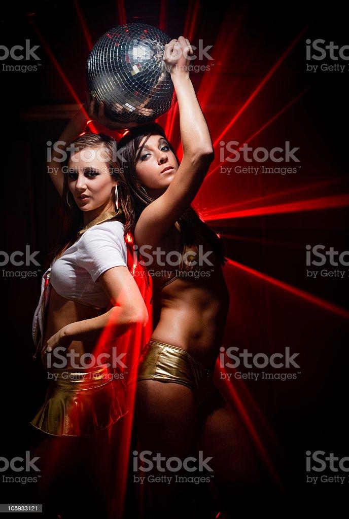Gogo dancers in laser light stock photo