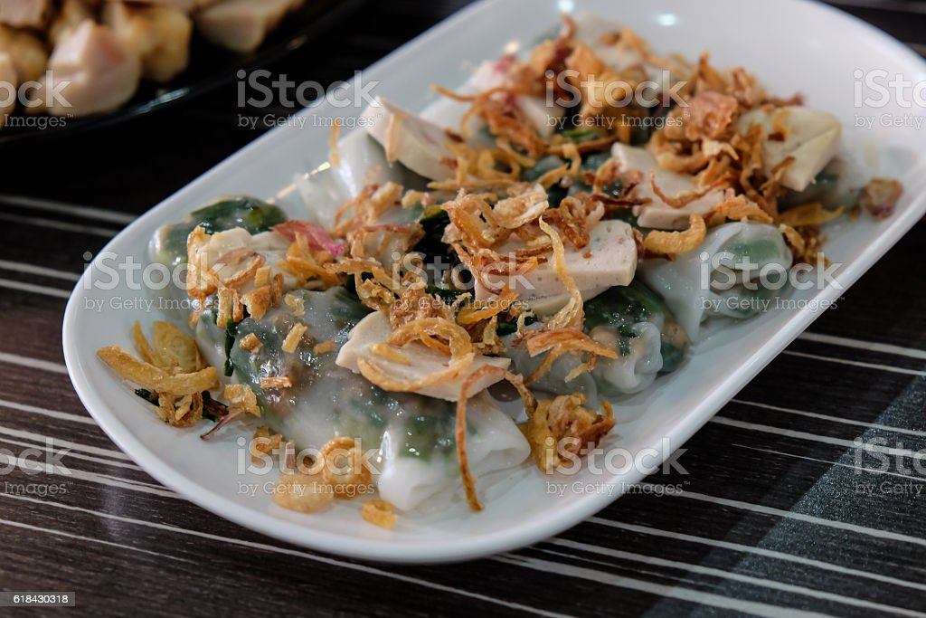 Goi Cuon - Vietnamese fresh summer rolls filled with prawns stock photo