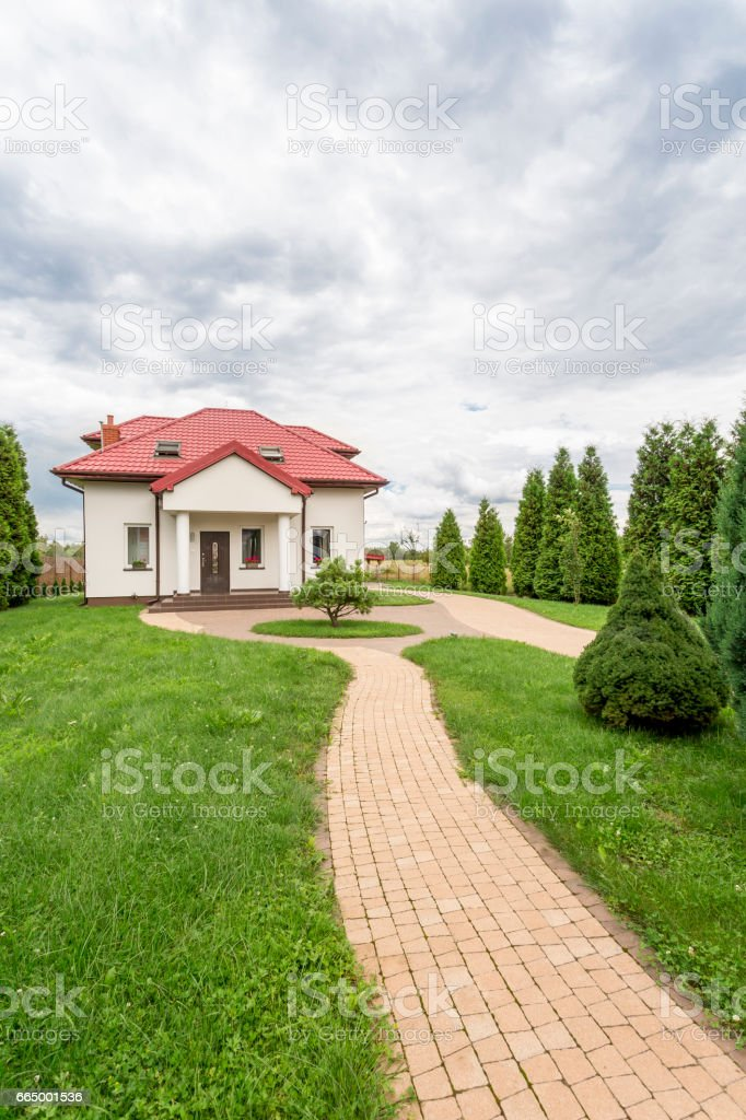 Going back to family house stock photo