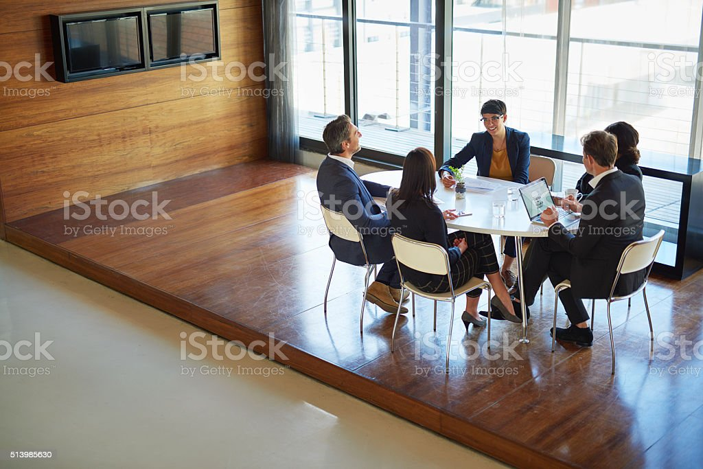 Going behind the scenes in the boardroom stock photo