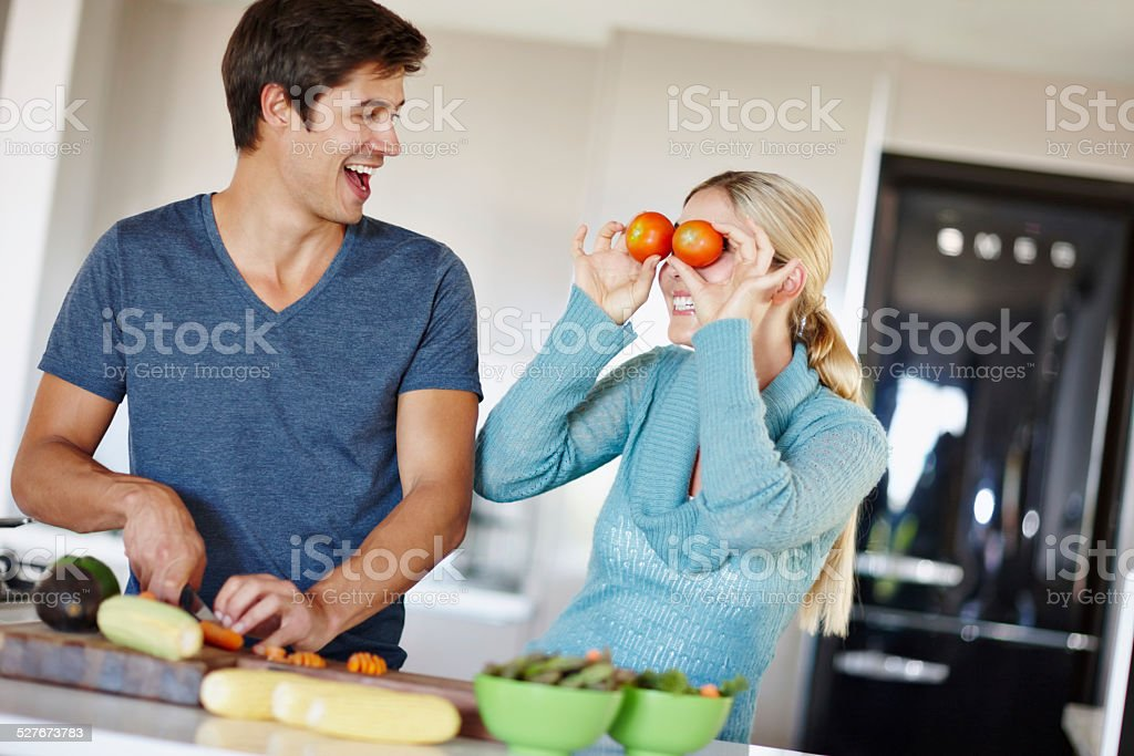 Going crazy in the kitchen stock photo