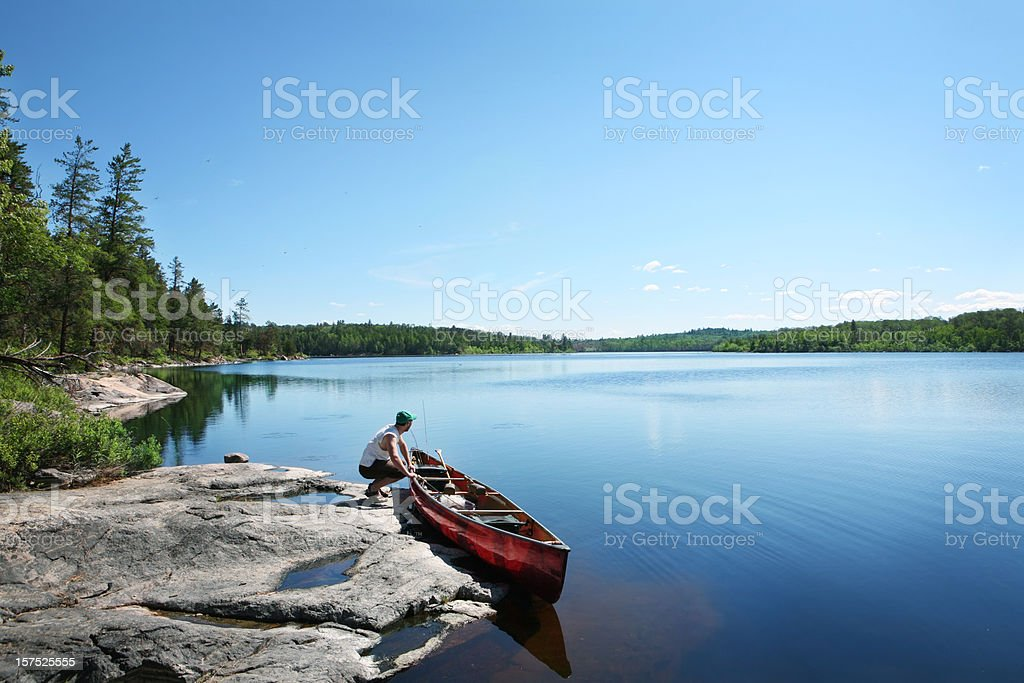 Going Fishing on a Wilderness Lake stock photo