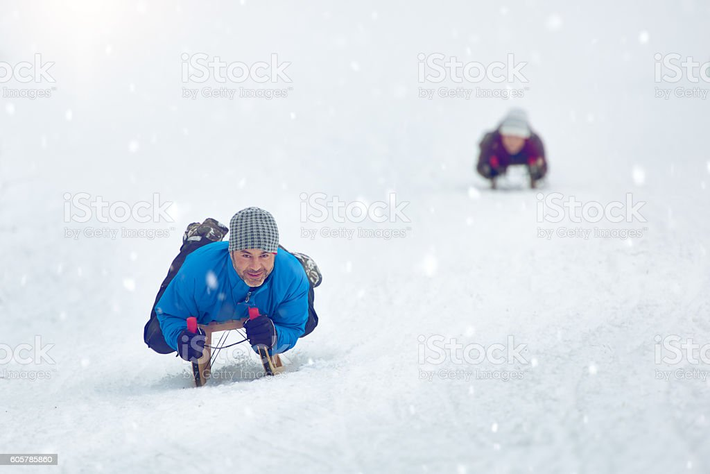 going for a ride with the sled stock photo