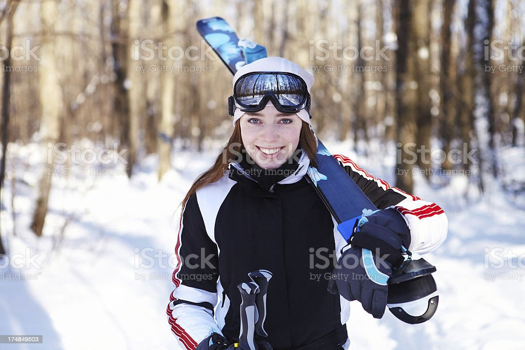 Going for downhill skiing. royalty-free stock photo