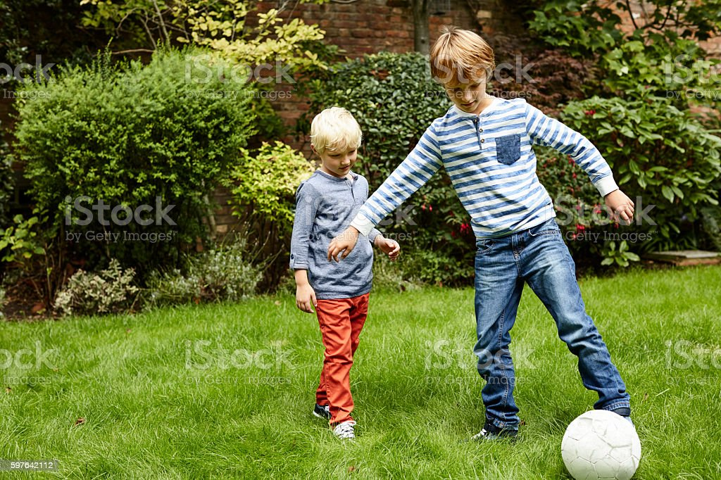 Going for goal! stock photo