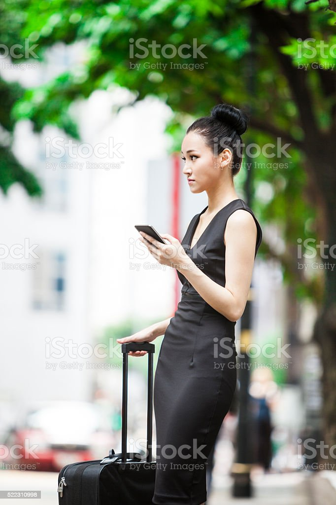 Going On A Business Trip: Waiting For The Transportation stock photo