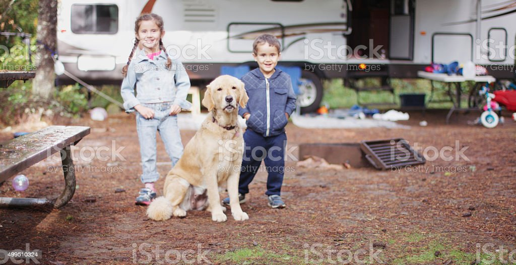 Going on a Camping Trip in the Woods stock photo