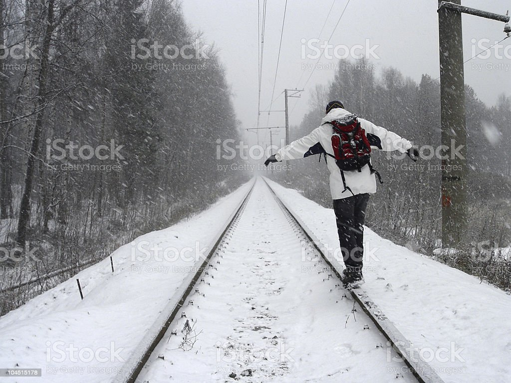 Going on a rail royalty-free stock photo