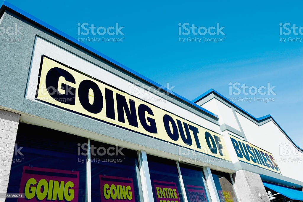 Going Out of Business Sign on Store stock photo