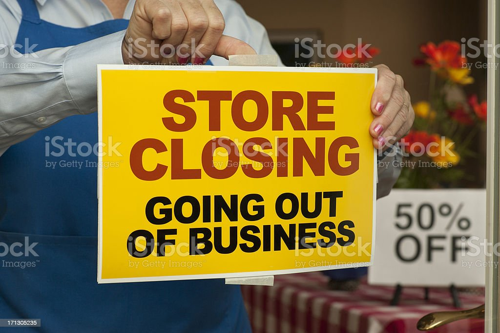 Going Out of Business Sign stock photo