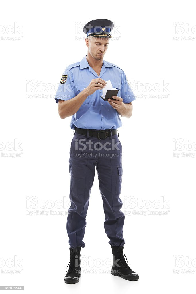 Going over his notes stock photo