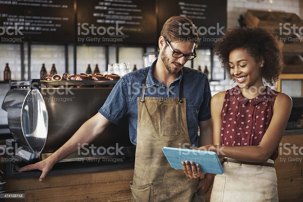 Going over the menu stock photo