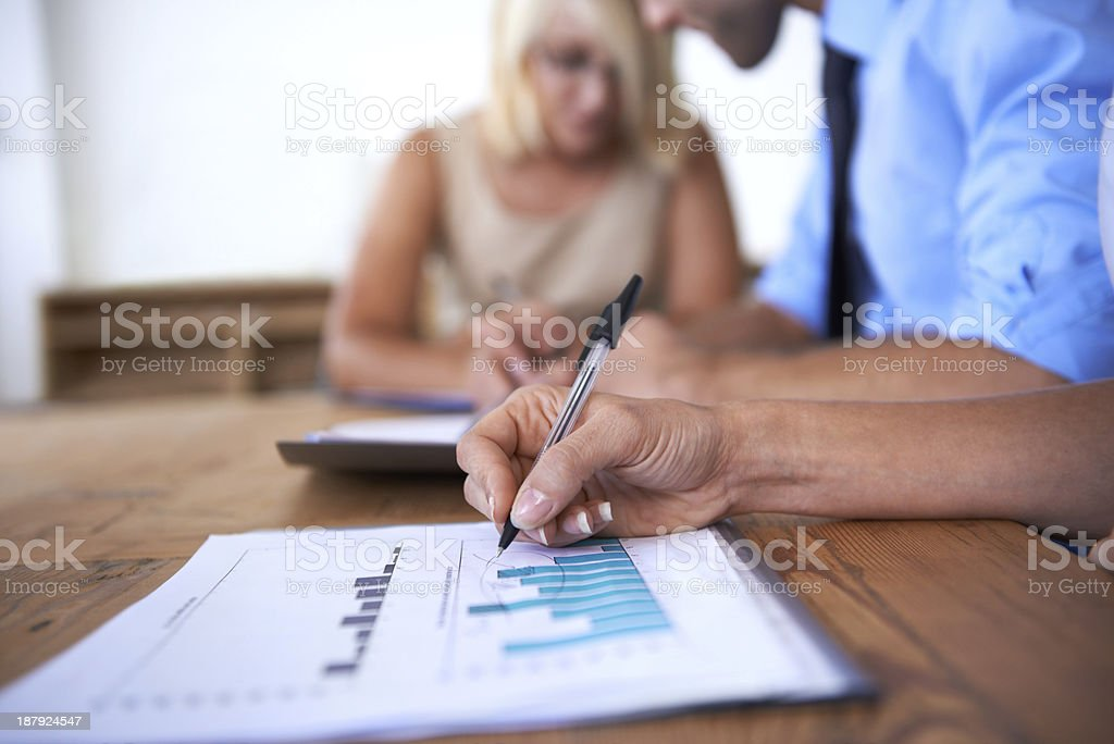 Going over the numbers stock photo