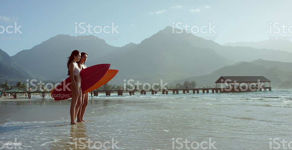 Going Surfing in Hawaii stock photo