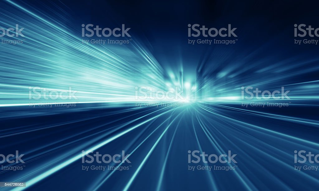 Going Through A city With High Speed stock photo