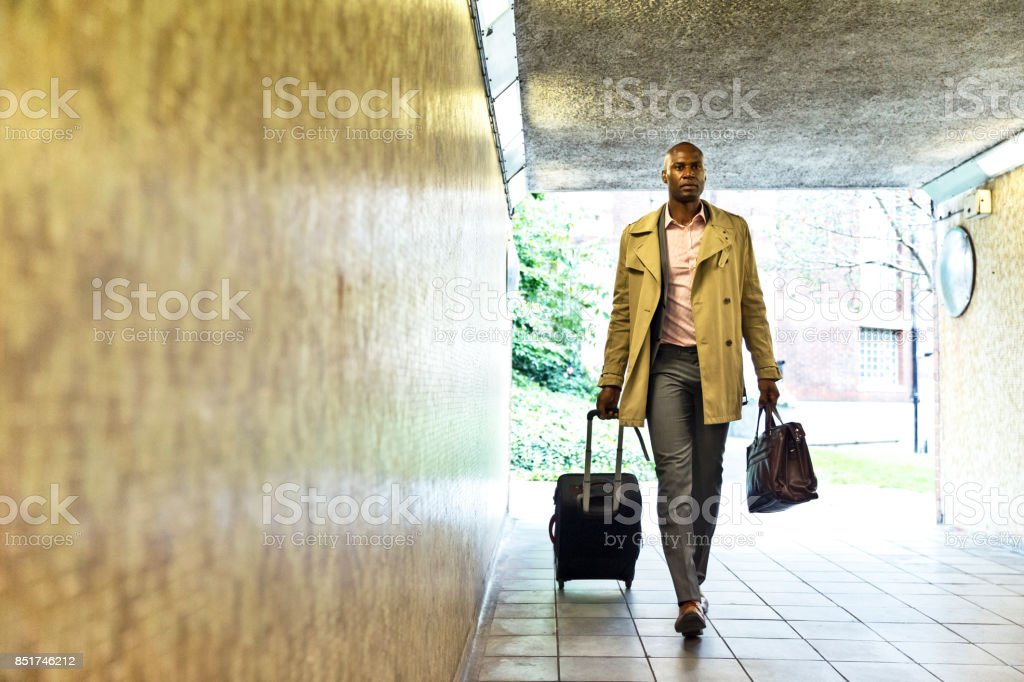 Going through an underground path to cross a busy street stock photo