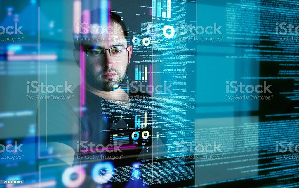 Going through endless data streams stock photo