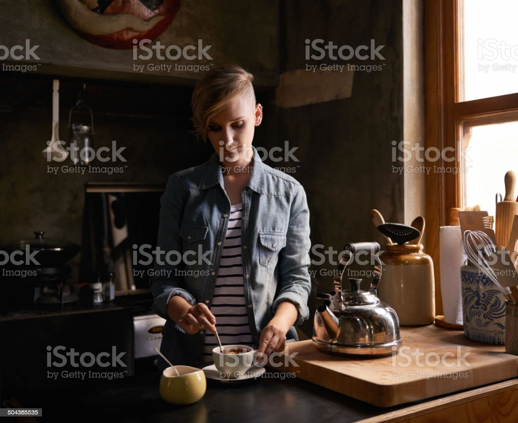 Going through her daily ritual stock photo