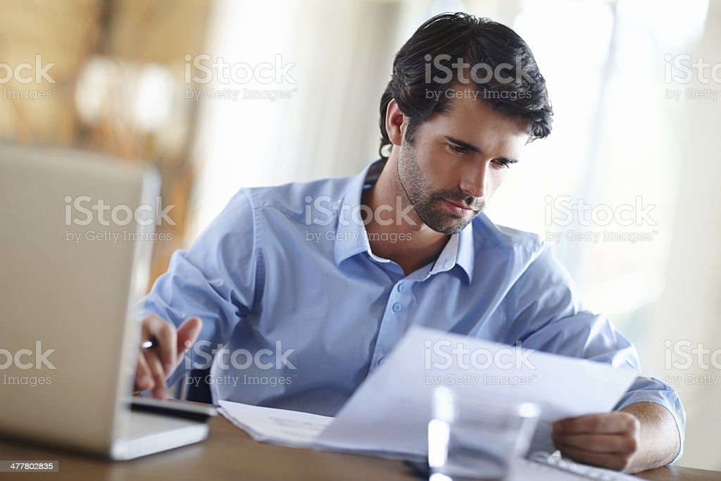 Going through the company's budget stock photo