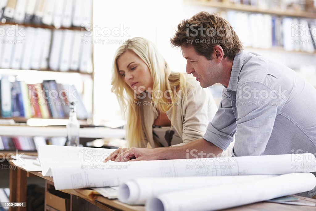 Going through the details together royalty-free stock photo
