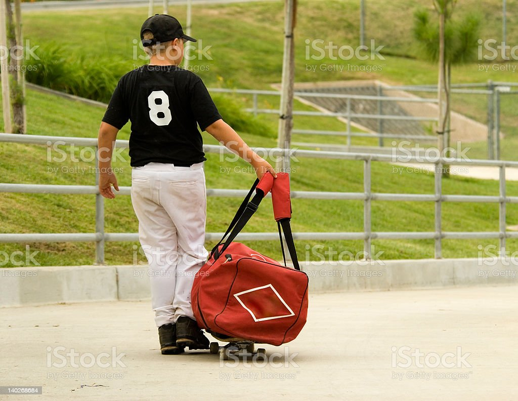 Going to baseball practice stock photo