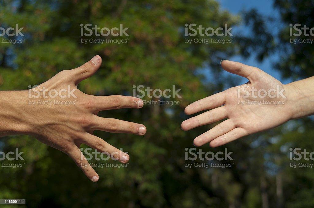 Going to handshake stock photo