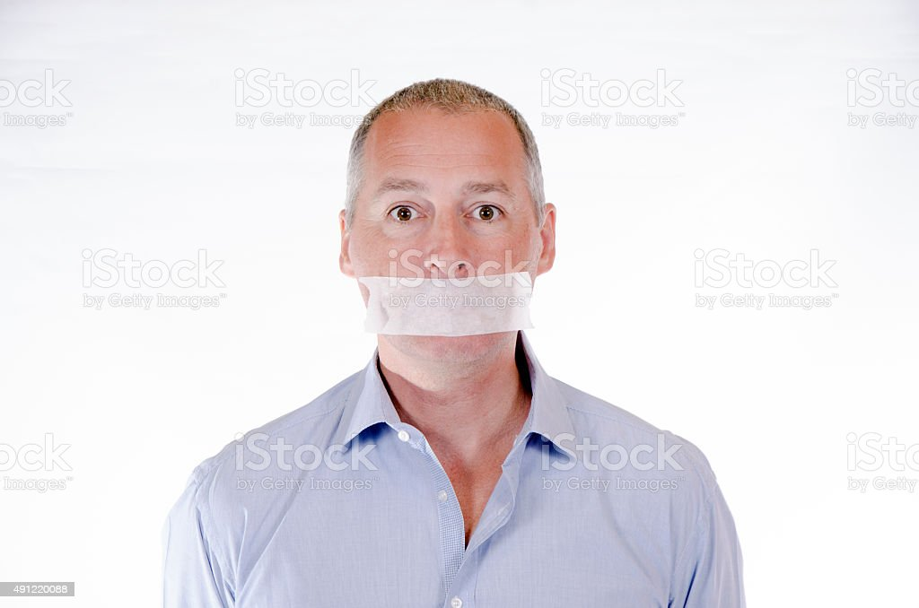 going to keep silence-Tape shut, Censored stock photo